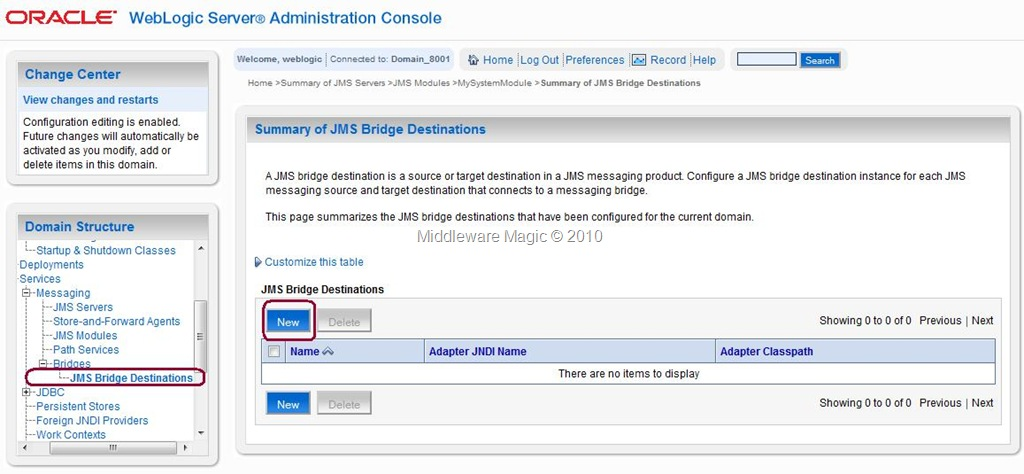 Steps to Configure Messaging Bridge on Weblogic Server